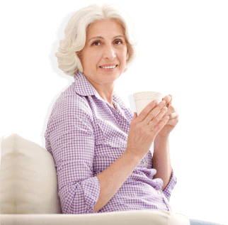 old woman holding a glass
